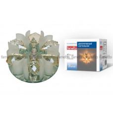 Светильник встраиваемый декоративный ТМ Fametto DLS-F120 G4 GLASSY/CLEAR+CHAMPAGNE, серия Fiore. Без лампы, цоколь G4. Основание стекло, цвет зеркальный. Отделка кри