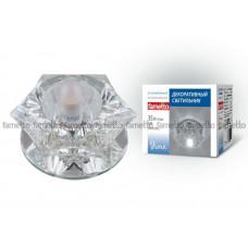 Светильник встраиваемый декоративный ТМ Fametto DLS-F109 G9 GLASSY/CLEAR, серия Fiore. Без лампы, цоколь G9. Основание стекло, цвет зеркальный. Отделка кристалл, цве