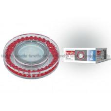 Светильник встраиваемый декоративный ТМ Fametto DLS-P104 GU5.3 CHROME/RED, серия Peonia. Без лампы, цоколь GU5.3. Основание металл, цвет хром. Отделка стекло, цвет п